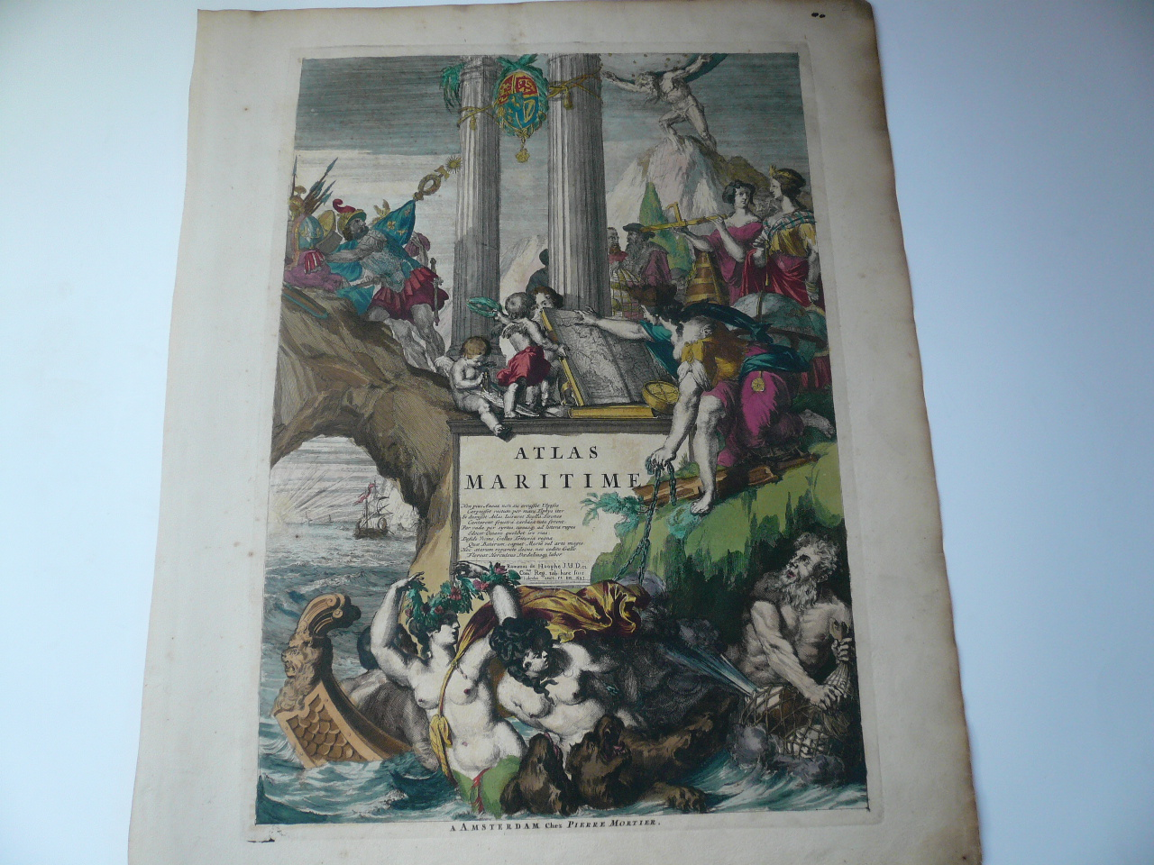 Atlas Maritime, anno 1693, Mortier Pierre, old coloured frontpag