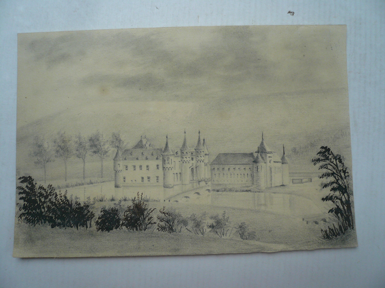 Chateau Spontin, anno 1900, paniting, size: 14x20 cm..