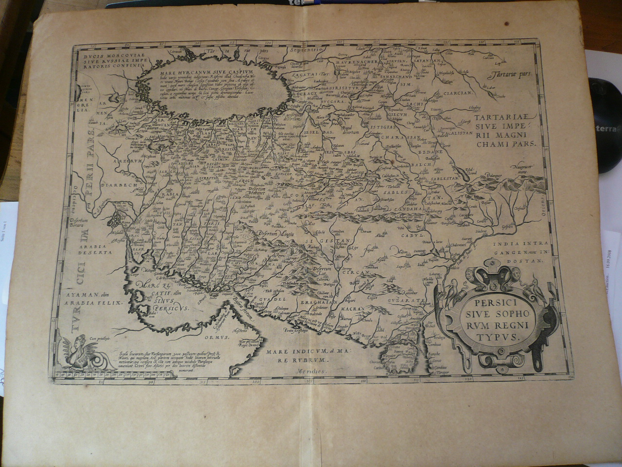 Persici sive sophorum, map, Ortelius, anno 1602, spanish edition