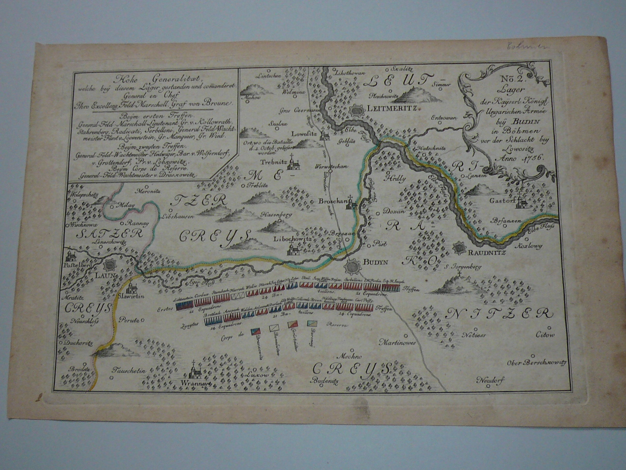 Litomerice,Labe, map anno 1765,Battle of Lowositz anno 1756