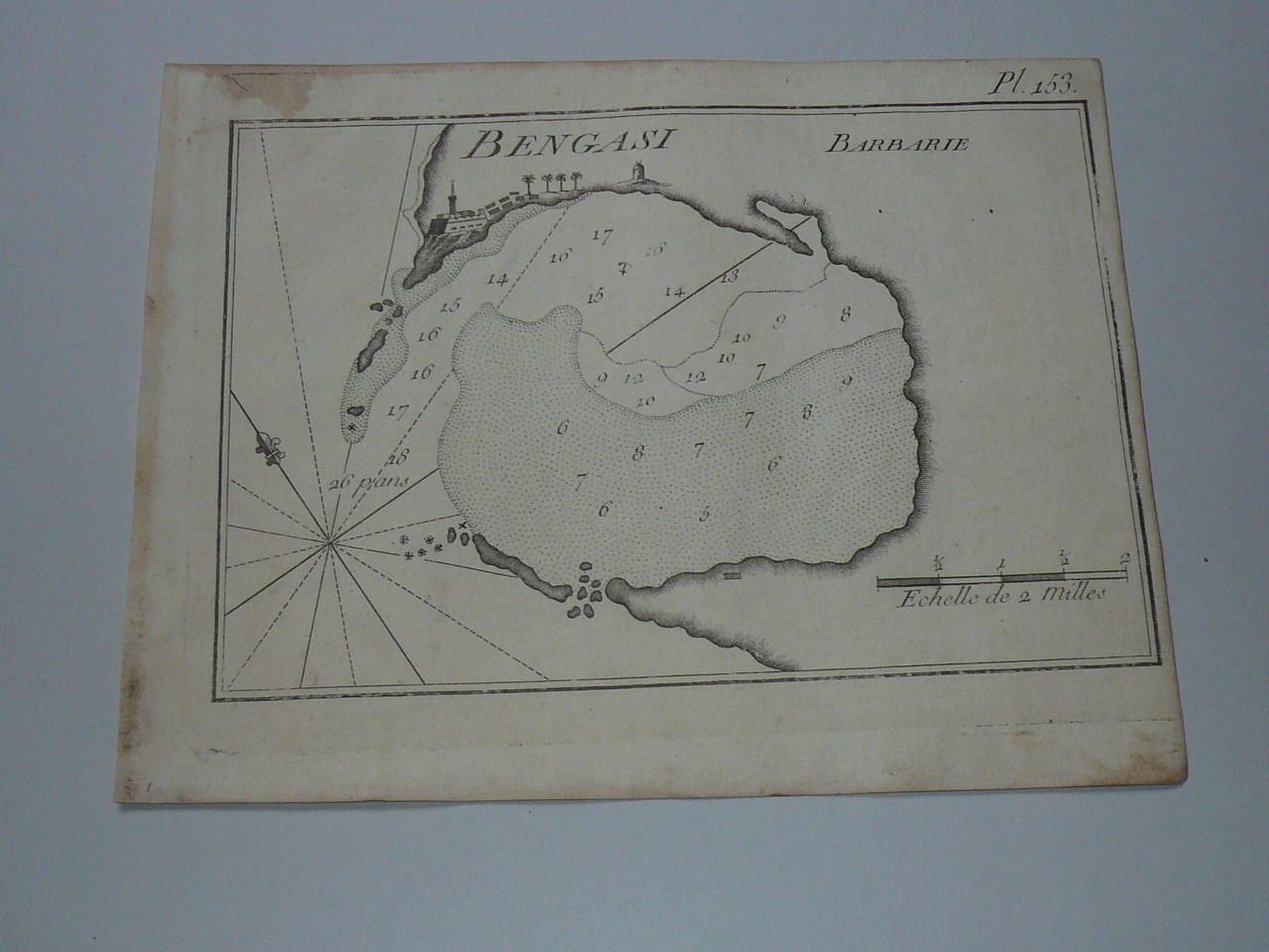 Banghazi/Bengasi/Libya, nautical map, anno 1795, Roux Joseph