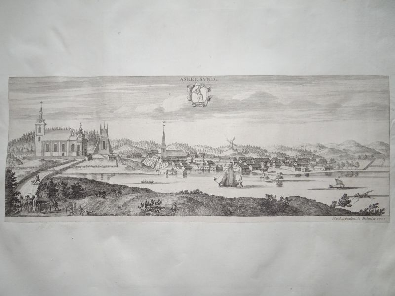 Askersund, anno 1715, copperengraving, Dahlberg in Suecia antiqu
