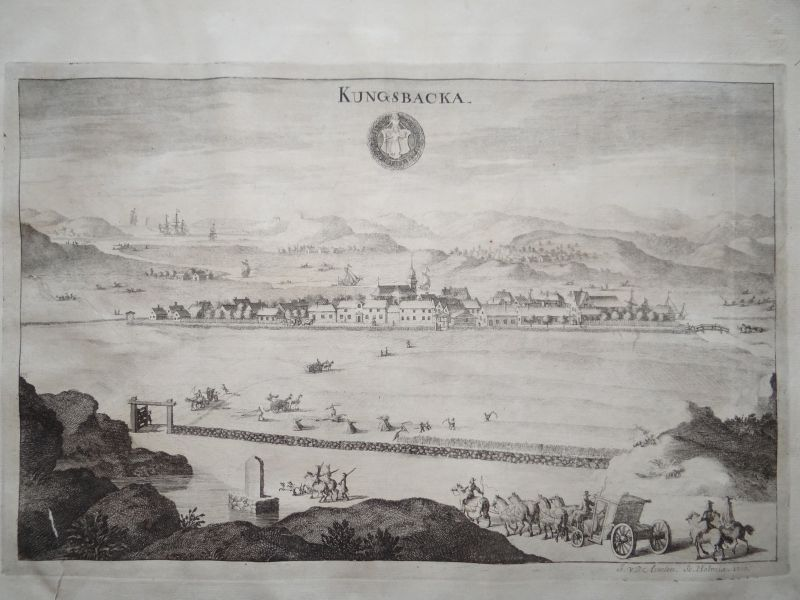 Kungsbacka, anno 1715, copperengraving, Dahlberg in Suecia antiq